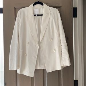 White linen like blazer